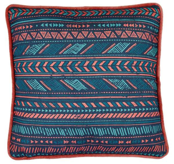 Cushion with print and velvet