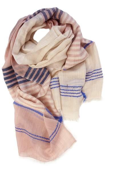 Weiß-Rosa Schal aus Pashminawolle