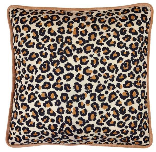 Cushion with leo print and velvet