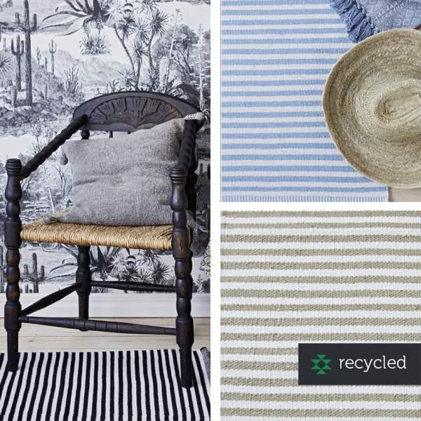 Klassischer, gestreifter Teppich I recycelte Baumwolle